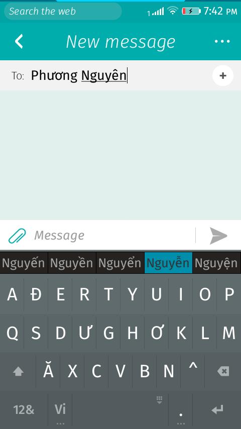 Screenshot of Vietnamese input method in use